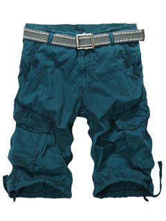 Longitud De La Rodilla Multi-bolsillo Con Cremallera Pantalones Cortos De Carga - Verde Negruzco 34