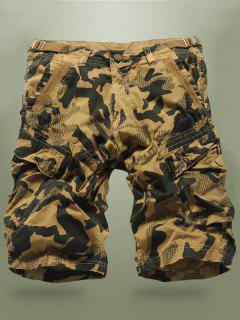 Buckled Multi-Pocket Camo Cargo Shorts - Khaki 34