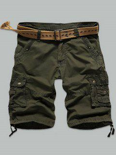Rivet Embellished Muti Stitch Zipper Fly Cargo Shorts - Army Green 29