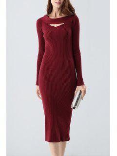 Midi Ribbed Knit Langarm Bodycon Kleid - Weinrot