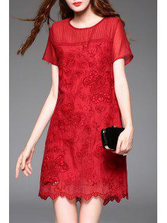 Cut Out Embroidered A-Line Dress With Cami Tank Top - Claret S