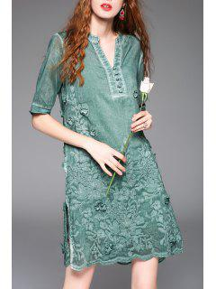 Embroidered Vintage A-Line Dress With Cami Tank Top - Green S