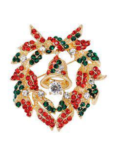 Christmas Bell Wreath Brooch - Golden