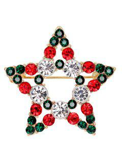 Rhinestone Star Brooch - Blackish Green