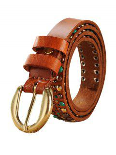 Ethnic Rivet Wide Belt - Light Brown