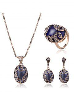 Faux Sapphire Rhinestone Oval Jewelry Set - Blue One-size