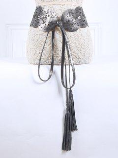 Long Tassel Hollow Bowknot PU Belt - Silver Gray