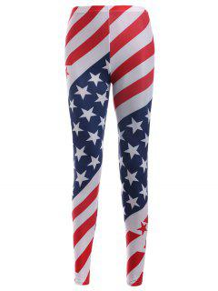 American Flag Print Leggings - Red