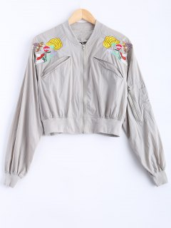 Letter Floral Embroidered Baseball Jacket - Light Gray