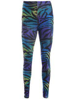 Zebra Stripe Print Leggings - Purple