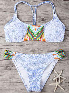 Printed Back Strappy Padded Bikini Set - L