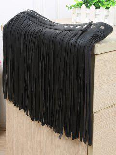 Rivet Rope Long Tassel Skirt PU Belt - Black