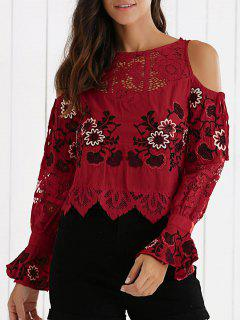 Embroidery Cold Shoulder Cropped Blouse - Red M