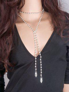 Faux Pearl Layered Wrap Choker - White