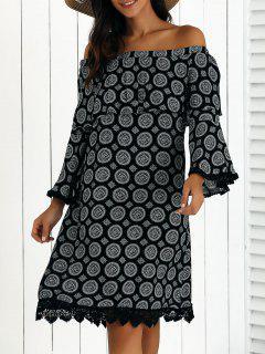Impreso Con El Vestido De Cambio Del Hombro - Negro S