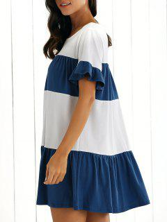Color Block Shift Dress - Sapphire Blue Xl