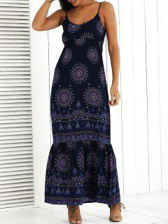 Imprimé Maxi Cami Dress - Bleu Foncé S
