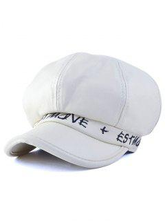 Letter Embroidery PU Newsboy Cap - White