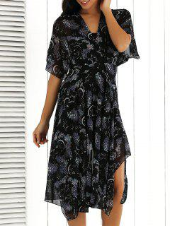 V Neck Printed Chiffon Midi Dress - Floral S