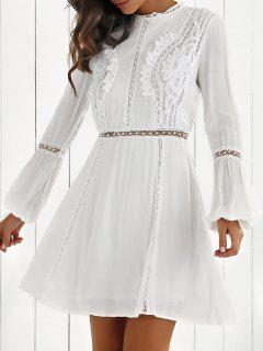 Dentelle Spliced manches Longues A-Line Robe - Blanc S