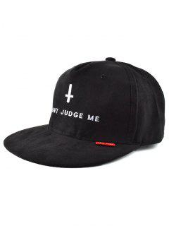 Letter Cross Faux Suede Snapback Hat - Black