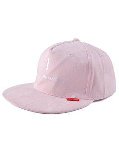 Letter Cross Faux Suede Snapback Hat - Pink