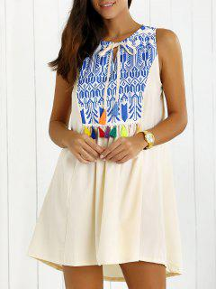 Printed Tassels Trapeze Dress - White L