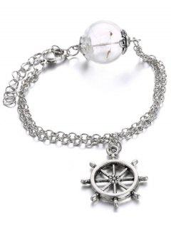 Glass Dry Dandelion Chains Rudder Bracelet - Silver