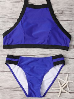Hit De Cuello Alto De Color Bikini Set - Azul M