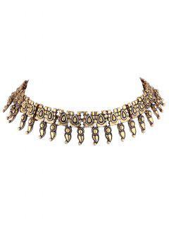 Fringe Metal Choker Necklace - Golden