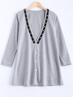 Plunging Neck Button Down Beaded Cardigan - Gray M