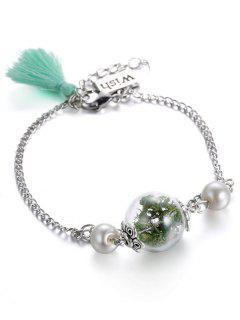 Verre à Sec Faux Usine Bracelet De Perles Tassel - Vert