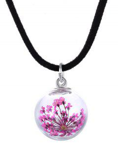 Artificial Leather Glass Dry Floral Necklace - Pink