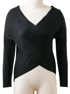 Convertible Cuello En V Suéter - Negro