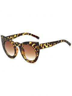 Round Lens Hawksbill Cat Eye Sunglasses - Brown