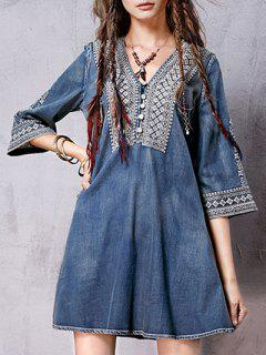 Denim Flared Bib Dress - Bleu M