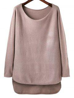 High Low Scoop Neck Tricots - Rose Nu