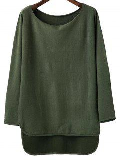 High Low Scoop Neck Tricots - Vert Foncé