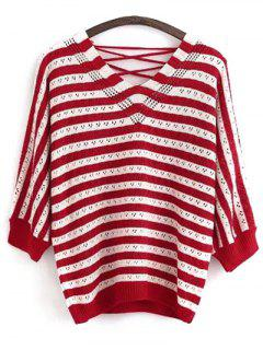 Lace Up V Neck Striped Sweater - Red