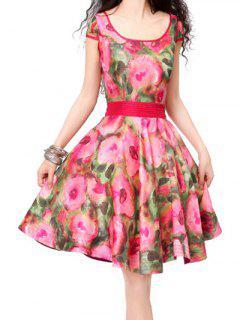 Robe Ajustée Et évasée Vintage - Floral M