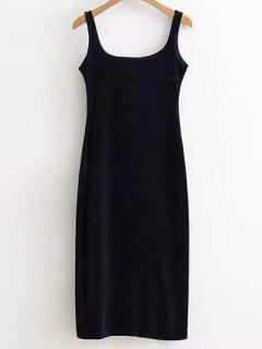 Back Slit Velvet Tank Dress - Purplish Blue