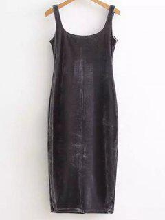 Back Slit Velvet Tank Dress - Deep Gray