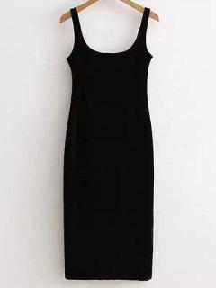 Back Slit Velvet Tank Dress - Black