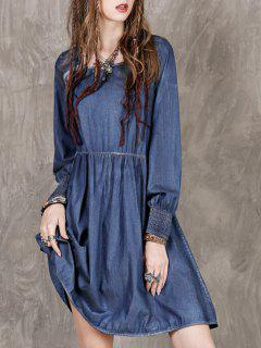 Long Sleeve Vintage Denim Dress - Blue M