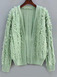 Long Sleeve Fringes Cardigan - Light Green