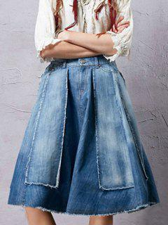 Patchwork Midi Denim Skirt - Blue S