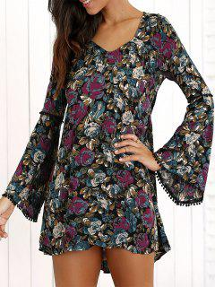 Bell Sleeve Lace Back Floral Dress - M