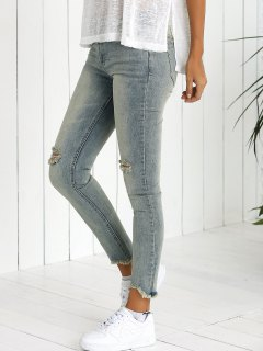 Skinny Ripped Straight Jeans - Light Blue 26