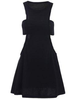 Negro Fotografica Semi Formal Mini Vestido - Negro S