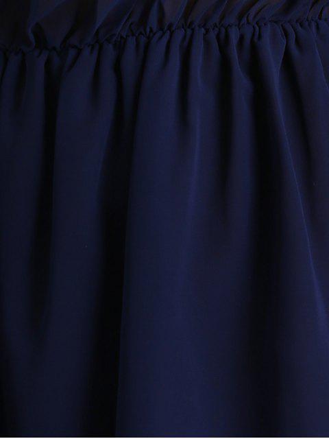 new Off Shoulder Bell Sleeve Chiffon Dress - DEEP BLUE S Mobile